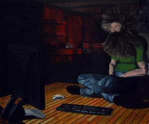 Painting of a modern caveman with long hair and beard with a red glow coming from outside.