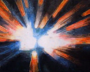 Painting of an implosion in space.