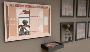 Exhibition view with instructionboard, band aids and images of the growing proces of the alien.