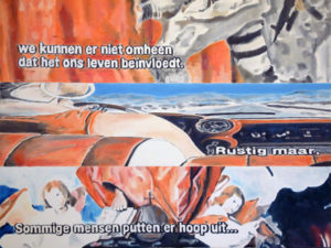 Painting with dutch subtitles taken from television with soldiers, a woman in a car and a religious image.