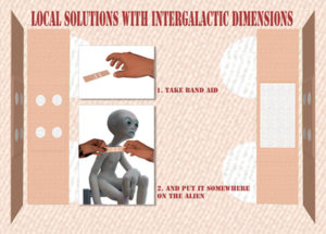 Guidelines for how to put a band aid on to an alien.