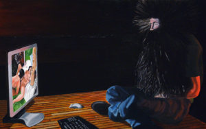 Painting of a man with real long hair and beard looking at porn.