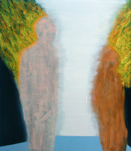 Painting of two people on fire with a void between them.