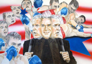 Painting of Bush jr. and a falling boxer.