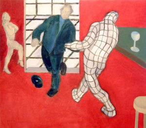 Painting of a virtual man dancing with a real man in a cafe.