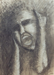 Drawing in charcoal a man screams with his hands over his ears.