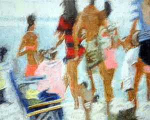 Painting of a frozen videostill of people on the beach.