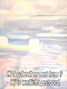 Blurry painting of a television still with a subtitle.