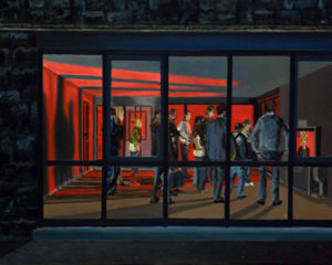 Painting of an outside view looking at people inside a room looking at the news.