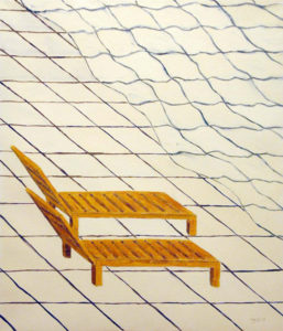 Painitng of beach chairs at a virtual beach and sea.