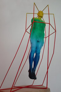 Sculpture of a person with a cage from it's own mind.