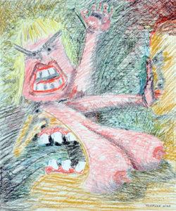 Cartoonish drawing of a rape scene in oil pastel.
