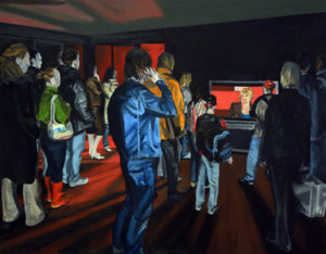 Painting of anxious people looking at the news with Martine Tanghe.