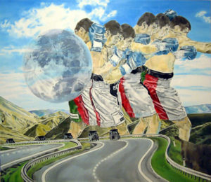 Painting of a giant boxer in a landscape with a road and the moon.