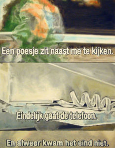 Painting with three television stills with subtitles.
