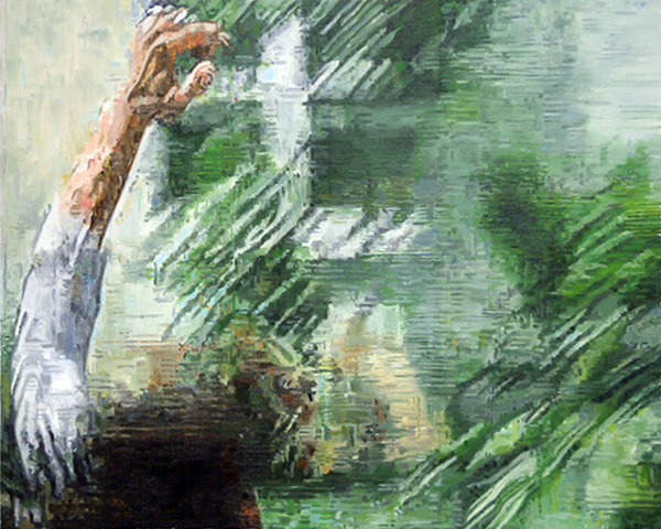 Painting of a videostill a man falls in the garden.