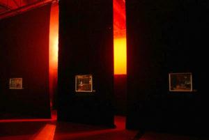 Exhibition view TAKT Neerpelt Belgium red glow.