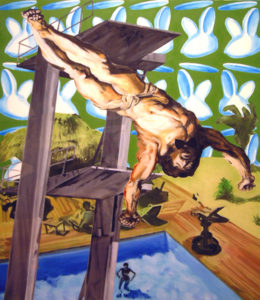 Painting of Jesus diving into a pool.