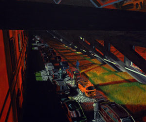 Painting of a safety camera looking at a traffic jam that occors inside a building.