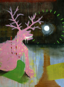 Painting of a pink deer by night with a bright moon.