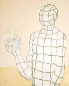 Painting of a virtual person and a skull as a memento mori.