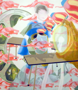Painting of pink elephants, a boy with a superman suite and an operating room.