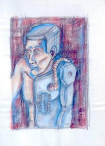 Drawing of a half man half robot.