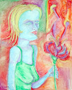 Drawing in oil pastel of a blue woman in a green dress with a poisoned flower.
