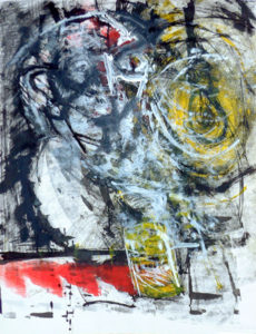 Expressionist drawing of a man in a dark bar.