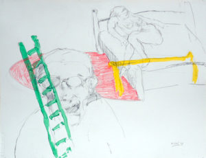 Drawing of a freek with a woman on a bed and a ladder with green, red and yellow.