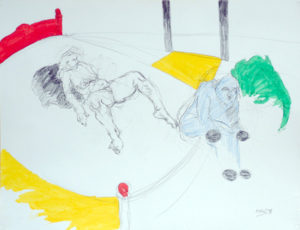 Drawing of a man on a bed with a naked woman with red, yellow and green.