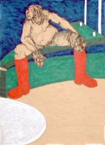 Drawing of a man with giant red boots watching into a white hole.