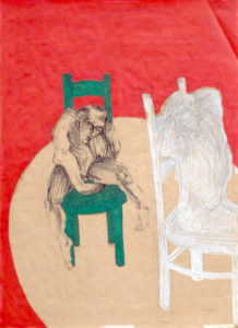 Drawing with two persons on two chairs in front of a red backgrond.