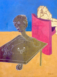 Drawing in bright colors with a man explanating and a man not listening.