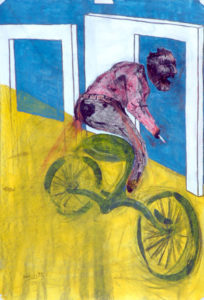 Drawing of a man on a bike with a sigaret in his hand.