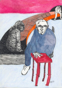 Drawing of a psychiatrist on a chair with a patient.