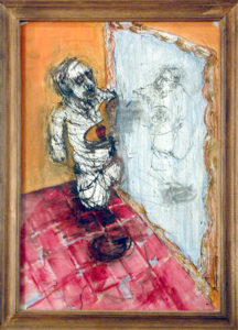 Drawing of a tormented man lookin into a mirror.