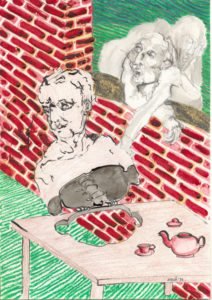 A drawing with a brick wall, two persons and a person connected to a table with a teapot.