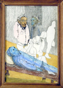 Drawing of a death person who's soul is leaving his body.