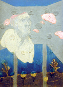 Painting of a half man without brains looking at brains above a burned landscape.