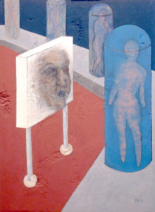 Futuristic painting of a wall with a face in a lab.
