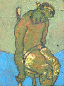 Drawing of a green man on a chair with his arm beside him.