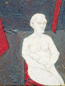Drawing of a pale man on a chair in a dark room with red panels.