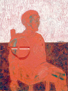Drawing of a red guy on chair in a red and white room.
