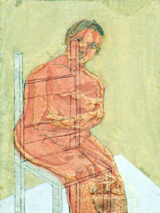 Drawing of a orange person on a chair with a yellow background.