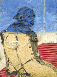 Drawing of a man on a chair in bleu, red and white.