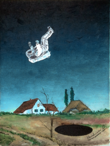 An astronout falls near a black hole in a old oil painting.