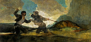 Goya painting fight with cudgels.
