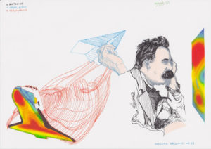 Drawing Nietzsche, paper plane and space shuttle.