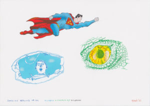 Drawing superman, surprised and a dinosaur eye.